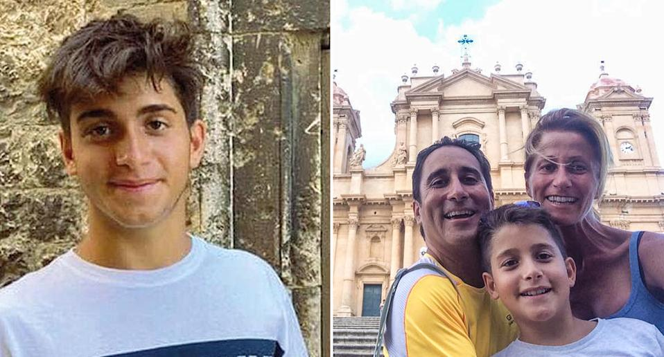 Piergianni Cesarato is pictured left and with his family on the right.