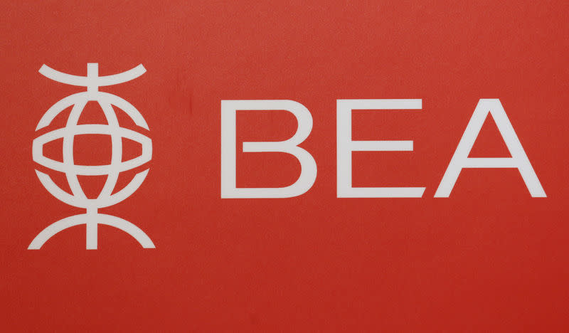 A logo of Bank of East Asia is displayed at a news conference in Hong Kong