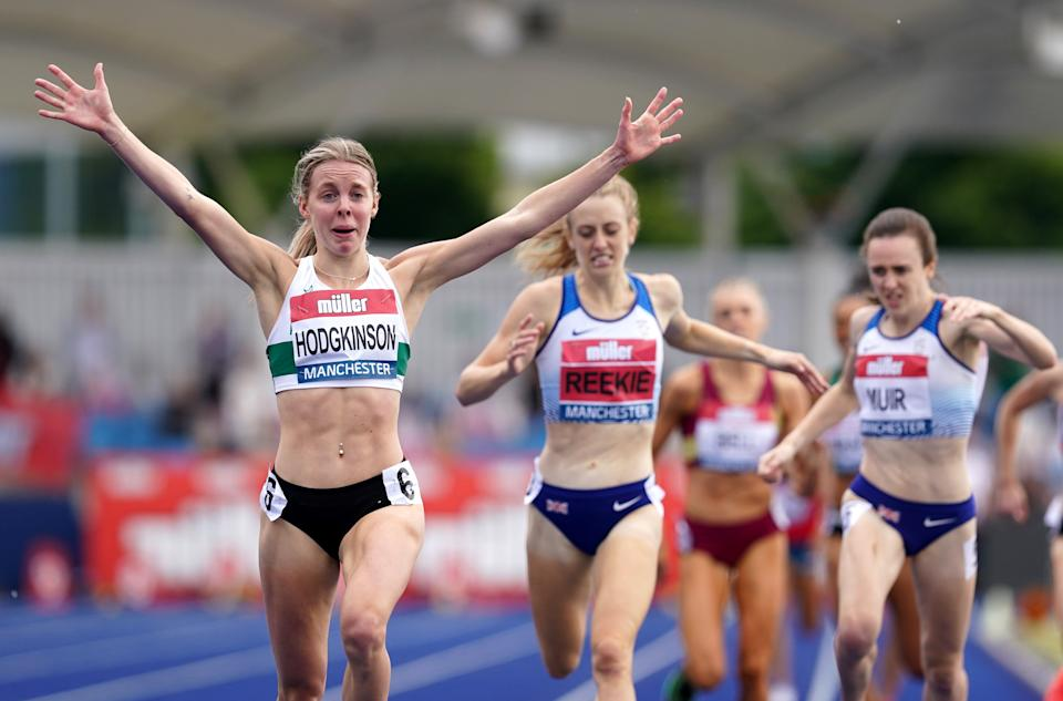 Great Britain's Keely Hodgkinson beat Jemma Reekie and Laura Muir to the British 800m title. (Martin Rickett/PA) (PA Wire)