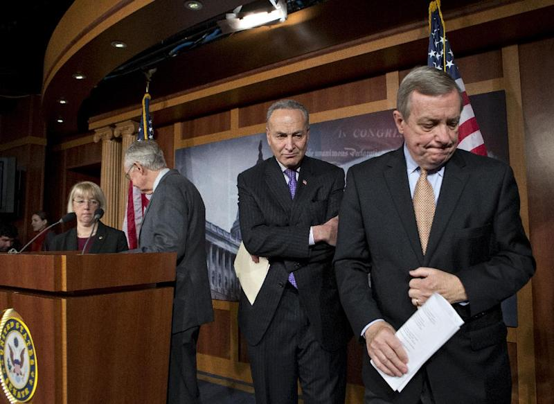 Senate Democratic leaders finish a news conference on Capitol Hill in Washington, Thursday, Feb. 28, 2013, after answering questions about the impending automatic spending cuts that take effect March 1. From right to left are, Senate Majority Whip Sen. Richard Durbin of Ill., Sen. Charles Schumer, D-N.Y., Senate Majority Leader Harry Reid of Nev., and Sen. Patty Murray, D-Wash. (AP Photo/J. Scott Applewhite)