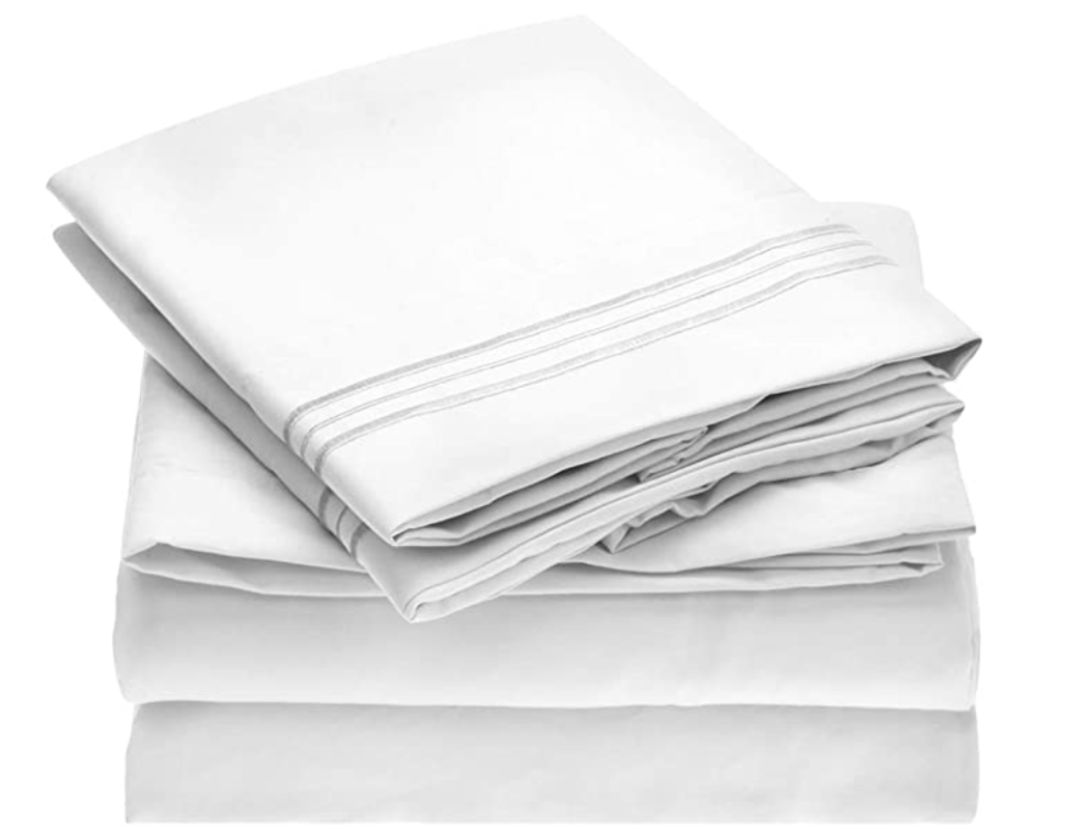 In brushed microfiber, these sheets feel like the bedding at a fancy hotel. (Photo: Amazon)