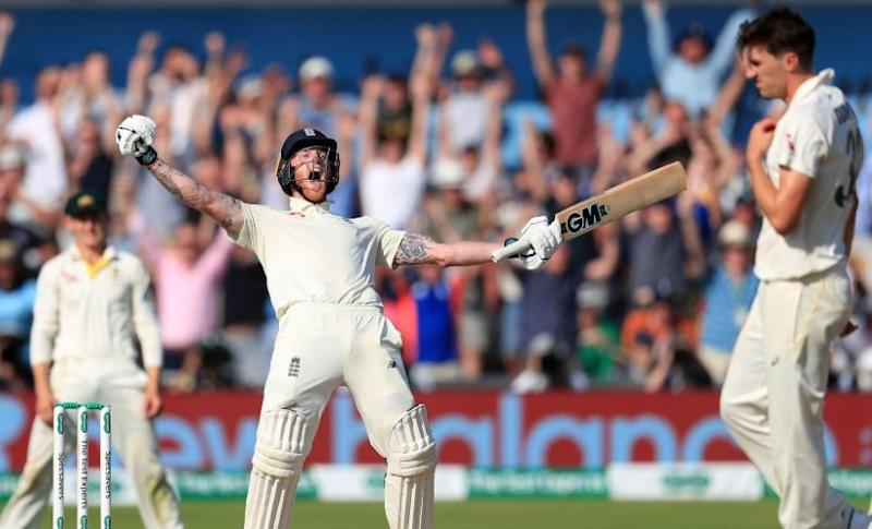 England's Ben Stokes celebrates winning the third Ashes Test match at Headingley, Leeds. AP