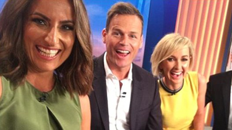 Weekend Today presenter Jayne Azzopardi is expecting her first baby - pictured here with co-stars Tom Steinfort and Deborah Knight. Photo: Instagram/thetodayshow