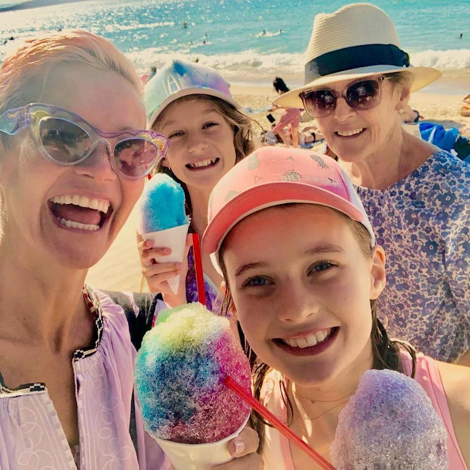 "Jessica Rowe says ""we're all working mums"". Pictured here with daughters Allegra (11) and Giselle (9) and her own mum, Penelope. Source: Instagram/jessjrowe"