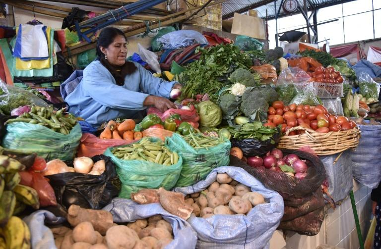 A woman sells vegetables in La Paz on November 25, 2019, as life gets back to normal