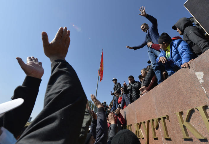 Image: People protest during a rally on the central square in Bishkek, Kyrgyzstan (Vladimir Voronin / AP)