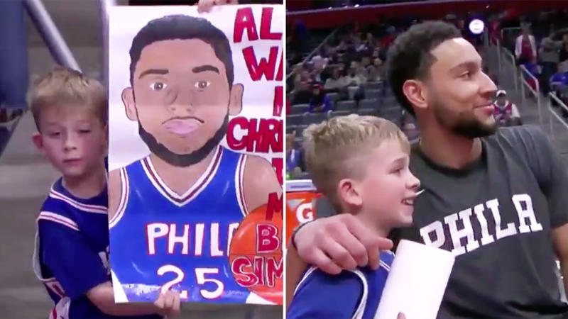 Ben Simmons meeting seven-year-old Auggie and taking a photo. (Images: NBC)