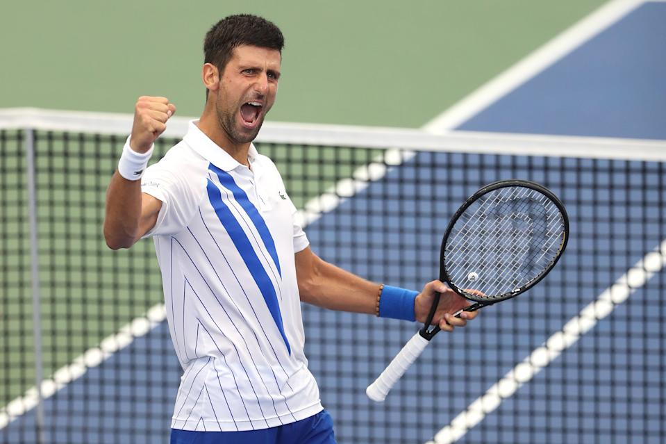 Novak Djokovic fist pumps and  celebrates after defeating Milos Raonic.