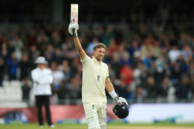 Ton of joy - England captain Joe Root celebrates making a century against India at his Headingley home ground on Thursday's second day of the third Test (AFP/Lindsey Parnaby)