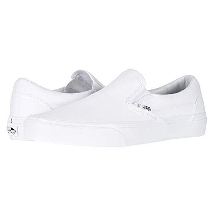 """<p><strong>Vans</strong></p><p>amazon.com</p><p><strong>$88.89</strong></p><p><a href=""""https://www.amazon.com/dp/B086SHC8HX?tag=syn-yahoo-20&ascsubtag=%5Bartid%7C2139.g.20087309%5Bsrc%7Cyahoo-us"""" rel=""""nofollow noopener"""" target=""""_blank"""" data-ylk=""""slk:BUY IT HERE"""" class=""""link rapid-noclick-resp"""">BUY IT HERE</a></p><p>If you only buy one pair of slip-on shoes in your life, make them these. Vans' classic slip-on sneakers are perennial favorites for their simple, comfy construction, and timeless look. </p>"""