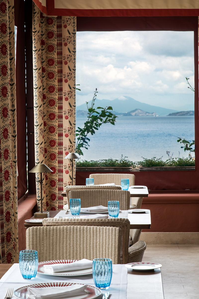 Overlooking the Mediterranean in the dining room