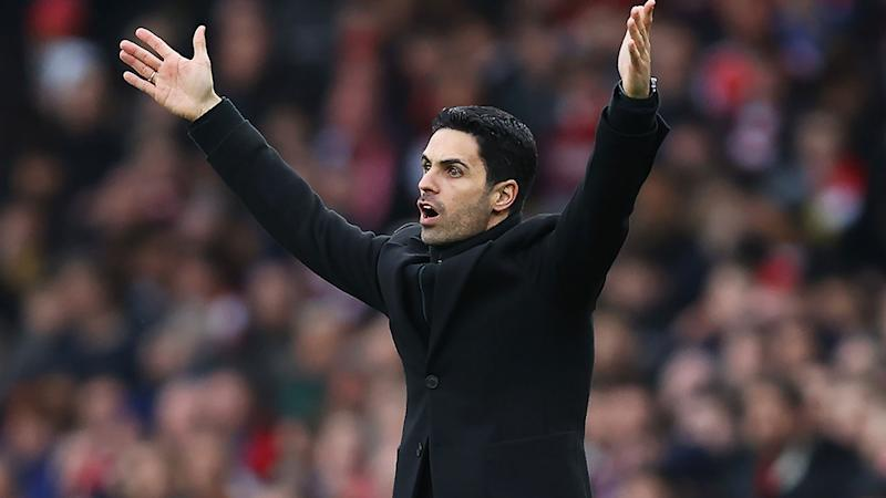Pictured here, Arsenal manager Mikel Arteta has tested positive for coronavirus.