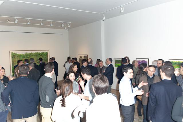 "<div class=""caption""> Visitors attend the Dixon show at the Andrew Edlin Gallery in Manhattan. </div> <cite class=""credit"">James Stone</cite>"