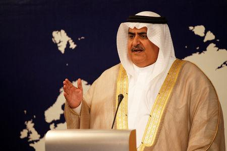 FILE PHOTO: Bahrain Foreign Minister Sheikh Khalid bin Ahmed Al Khalifa speaks during a news conference in Manama, Bahrain