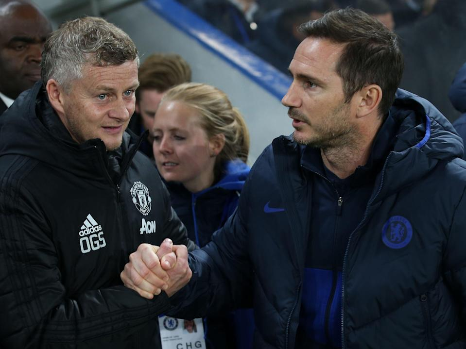 Ole Gunnar Solskjaer and Frank Lampard (Manchester United via Getty Images)