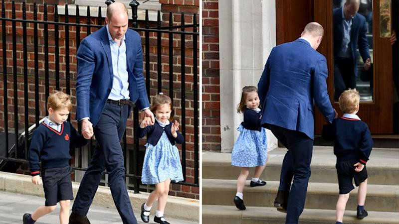 Prince William returned to the Lindo Wing with Prince George and Princess Charlotte an hour after leaving. Source: Getty