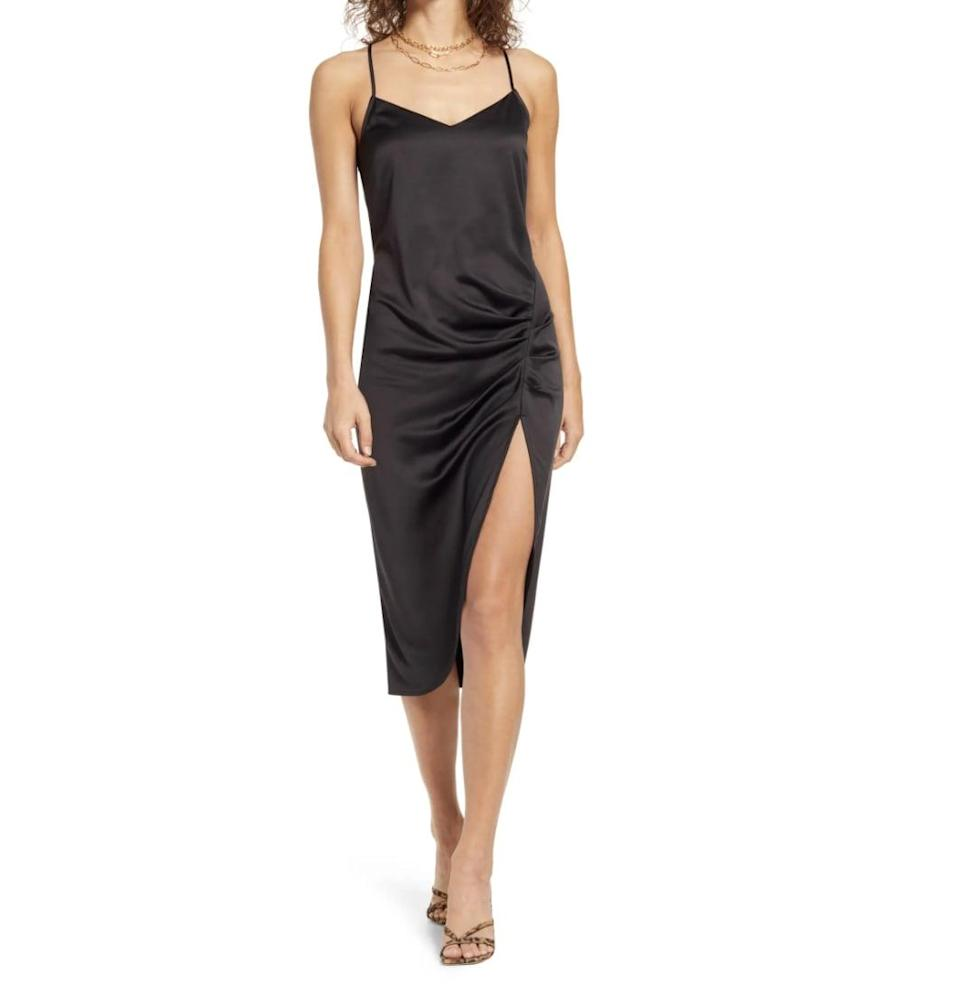 <p>This <span>Open Edit Strappy Shirred Sleeveless Midi Dress</span> ($69) packs plenty of sex appeal, making it perfect for date night. The ruching detail and side slit only add to the allure.</p>