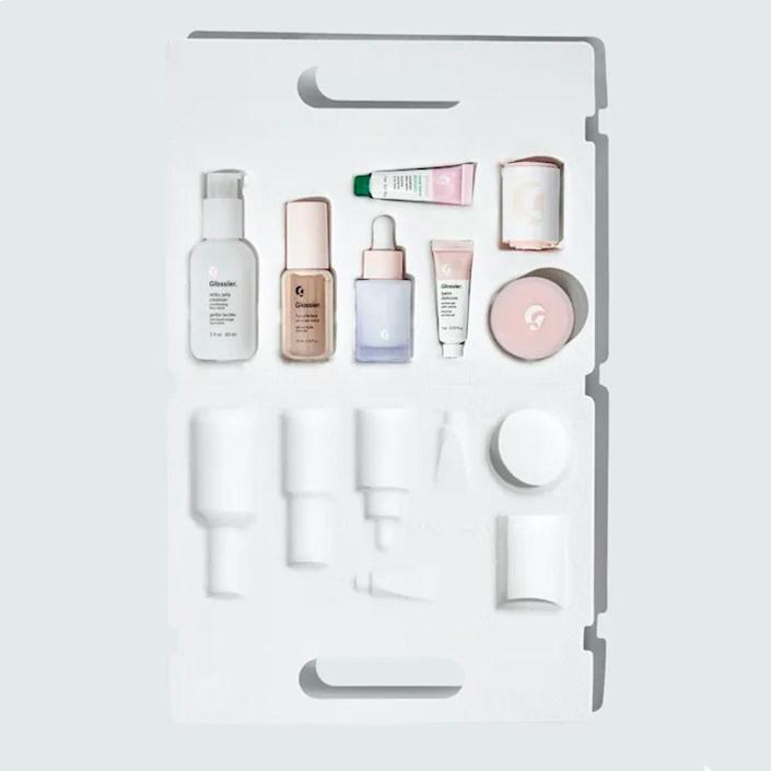 """<p><strong>Glossier</strong></p><p>glossier.com</p><p><strong>$50.00</strong></p><p><a href=""""https://go.redirectingat.com?id=74968X1596630&url=https%3A%2F%2Fwww.glossier.com%2Fproducts%2Fthe-skincare-edit&sref=https%3A%2F%2Fwww.bestproducts.com%2Fbeauty%2Fg256%2Fchristmas-holiday-beauty-gifts%2F"""" rel=""""nofollow noopener"""" target=""""_blank"""" data-ylk=""""slk:Shop Now"""" class=""""link rapid-noclick-resp"""">Shop Now</a></p><p>I scream, you scream, we all scream for Glossier goodies! And what could get anyone more excited than this entire (recyclable) case of the fan-favorite brand's skincare essentials?</p><p>This kit includes five mini sizes of Glossier's most sought-after skincare favorites: their beloved Milky Jelly Cleanser, hydrating Super Bounce serum, intensely moisturizing Priming Moisturizer Rich, soothing Balm Dotcom in Original and Rose, and the dewy skin favorite Futuredew oil-serum hybrid. </p><p>Plus, it comes with a selfie-worthy pink nylon-spandex headband that's embossed with the iconic Glossier G logo.</p>"""