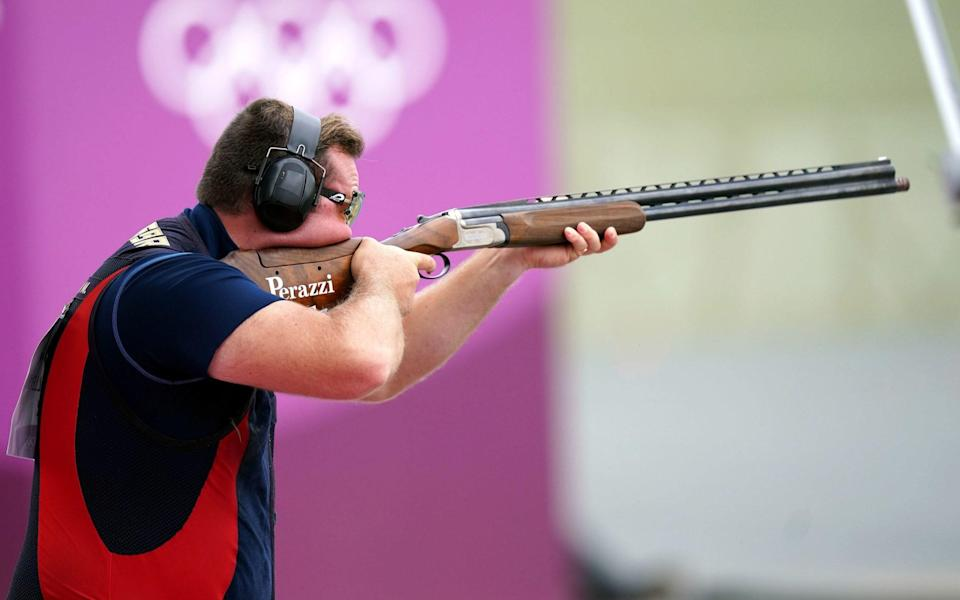 Great Britain's Matthew Coward-Holley competes in the Men's Trap Shooting at the Asaka Shooting Range on the sixth day of the Tokyo 2020 Olympic Games in Japan. Picture date: Thursday July 29, 2021. - PA/Mike Egerton