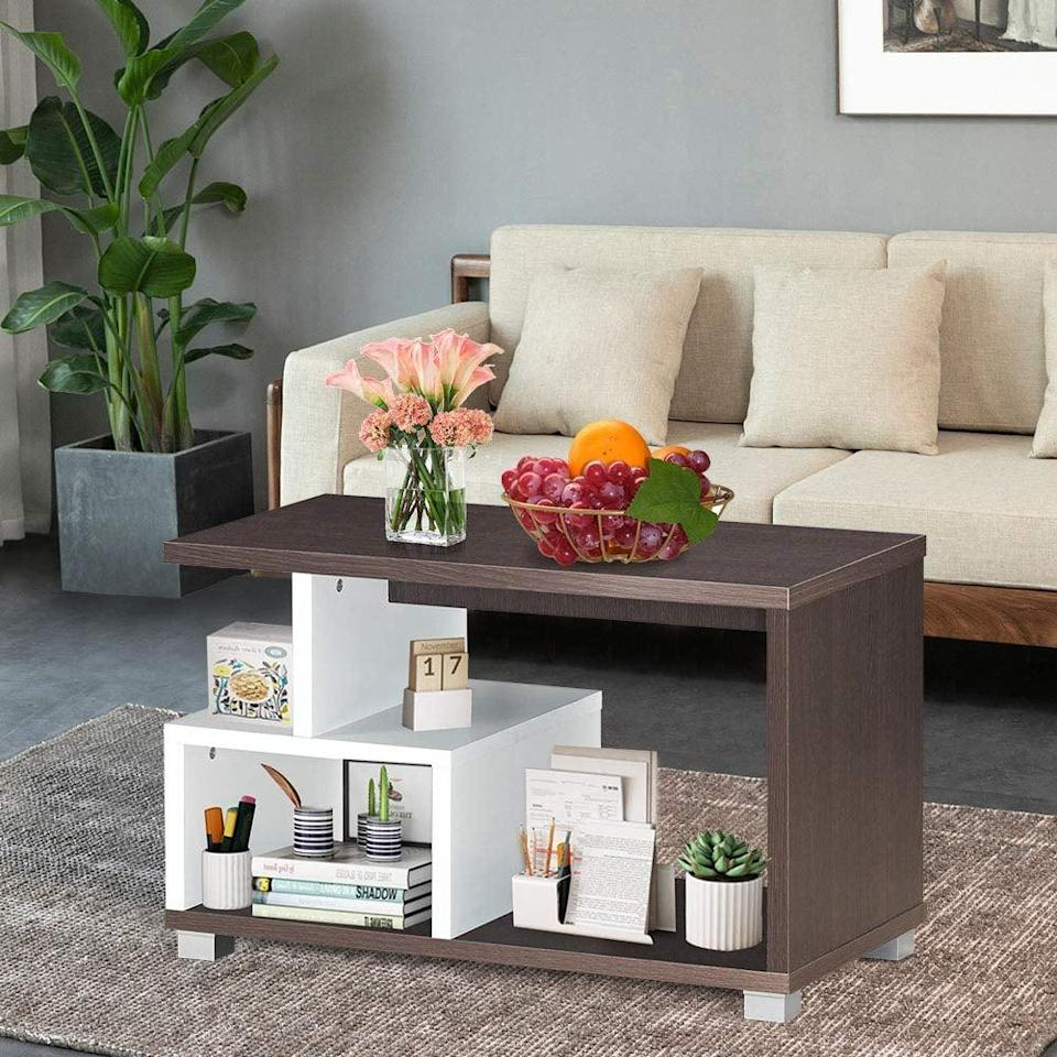 <p>We love the two-tone design of this <span>Modern Coffee Table for Living Room</span> ($65).</p>