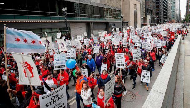 PHOTO: Teachers and supporters gather for the rally on the first day of strike by the Chicago Teachers Union, Oct. 17 2019 in Chicago. (Kamil Krzaczynski/AFP via Getty Images)