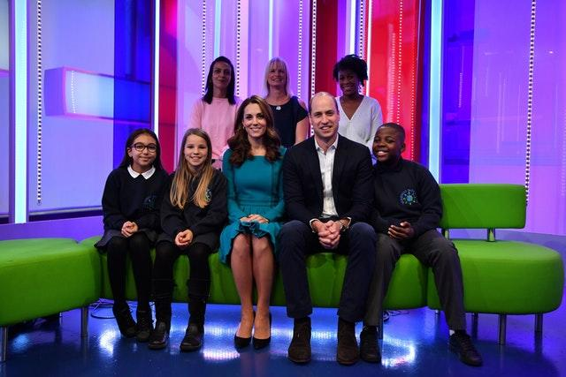 The Duke and Duchess of Cambridge with parents and children who gave feedback on an app designed to combat online bullying