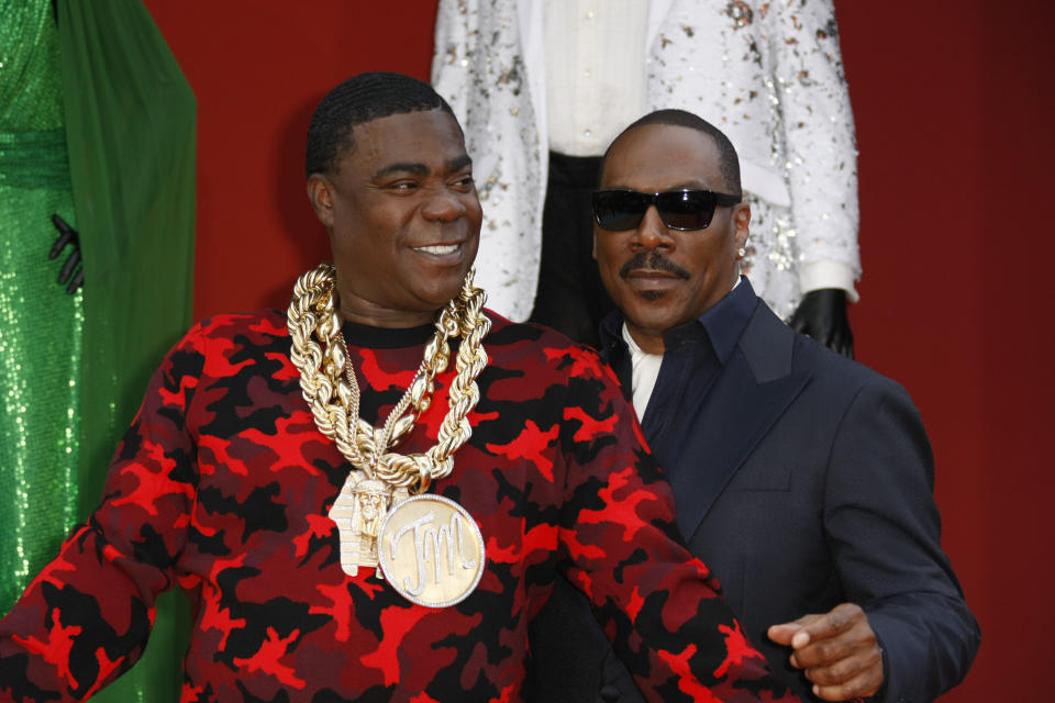 "Tracy Morgan and Eddie Murphy attend the LA Premiere of ""Dolomite Is My Name"" on September 28, 2019. (Credit: CraSH/imageSPACE/MediaPunch /IPX)"