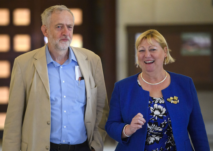 Pat Glass, pictured with Jeremy Corbyn (Picture: REX Features)