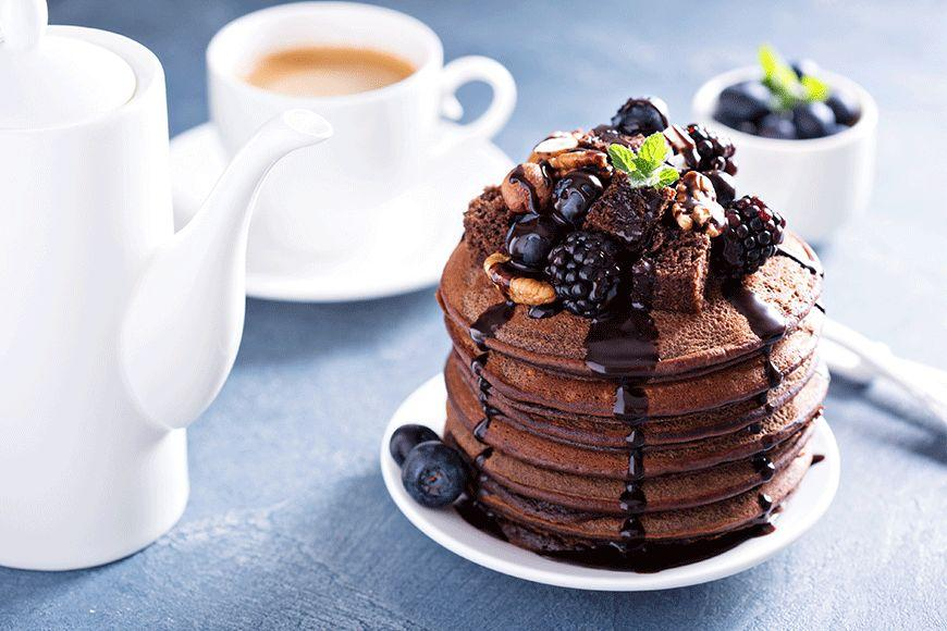 """Rich, chocolatey and undeniably decadent, we're guessing these <a rel=""""nofollow"""" href=""""http://au.lifestyle.yahoo.com/food/recipes/recipe/-/10148148/chocolate-pancakes-with-berries/"""">Chocolate Pancakes With Berries</a> won't last long in any household!"""