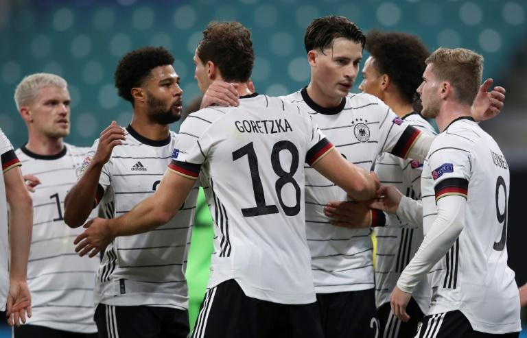 Let's celebrate: Germany's Timo Werner (right) is congratulated by teammates