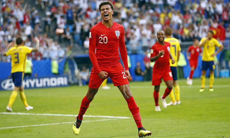 Dele Alli can't hide his delight after scoring to put England 2-0 ahead in their quarter-final against Sweden. It was his first goal for his country since October 2016.