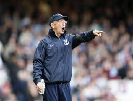 Crystal Palace manager Pulis reacts during their English Premier League soccer match against West Ham United at the Boleyn Ground in London
