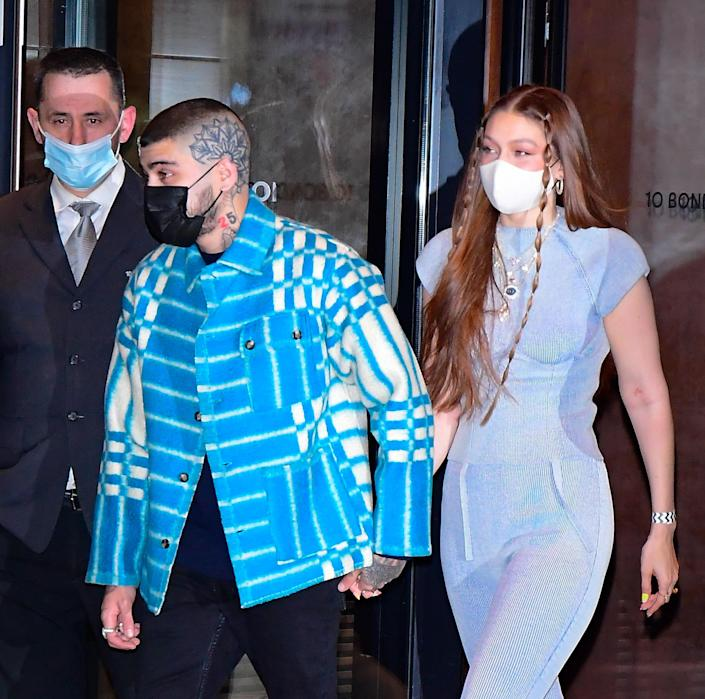 Zayn Malik and Gigi Hadid are seen on her birthday on April 23, 2021 in New York City.