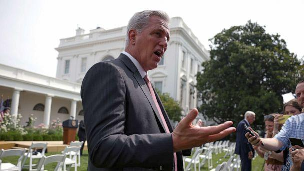 PHOTO: House Minority Leader Kevin McCarthy speaks to reporters before a ceremony to mark the 31st anniversary of the Americans with Disabilities Act (ADA) in the Rose Garden of the White House on July 26, 2021 in Washington, DC. (Anna Moneymaker/Getty Images)