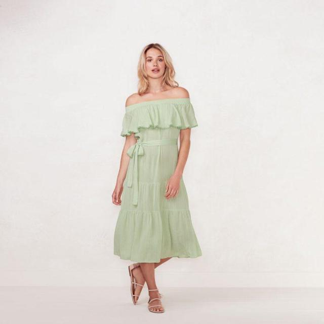 A mint, off-the-shoulder dress with a tie at the waist, from the LC Lauren Conrad Beach Collection from Kohl's. (Photo: Courtesy of Kohl's)
