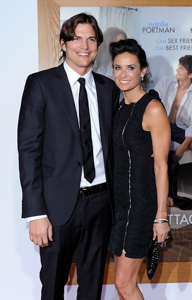 """<a href=""""http://movies.yahoo.com/movie/contributor/1800354733"""">Ashton Kutcher</a> and <a href=""""http://movies.yahoo.com/movie/contributor/1800012196"""">Demi Moore</a> attend the Los Angeles premiere of <a href=""""http://movies.yahoo.com/movie/1810159162/info"""">No Strings Attached</a> on January 11, 2011."""