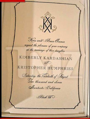 Kim Kardashian and Kris Humpries' leaked wedding invitation. Credit: TMZ.com