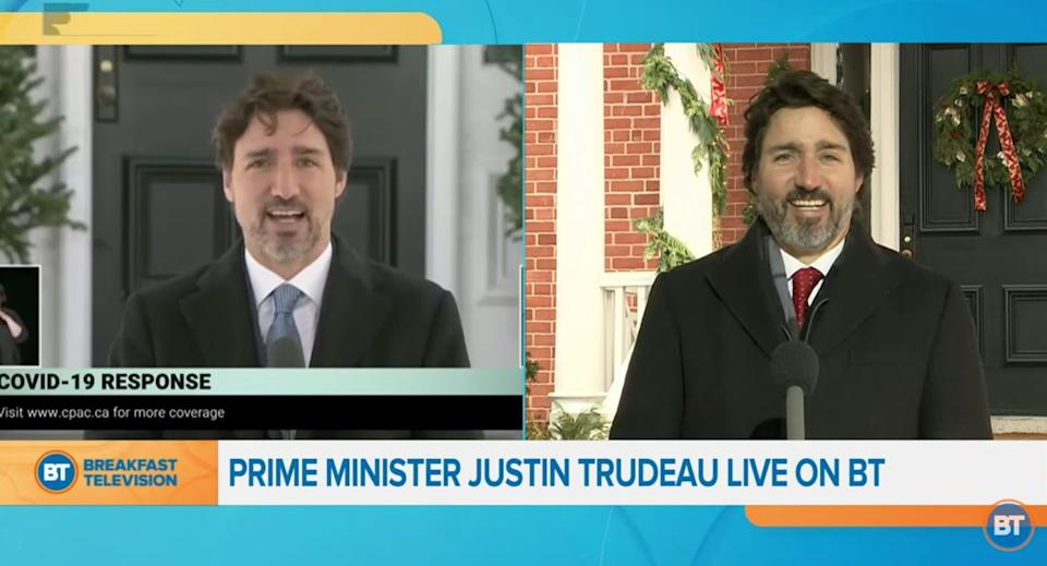 Prime Minister Justin Trudeau is interviewed on Breakfast Television on Dec. 16, 2020. (Photo: Breakfast Television Toronto/YouTube screengrab)