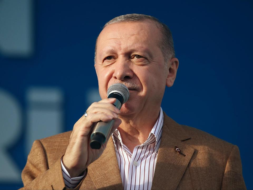 'I am calling to all my citizens from here to never help French brands or buy them,' said Recep Tayyip Erdogan (AP)