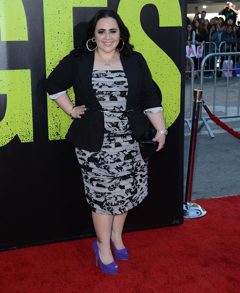 "LOS ANGELES, CA - JUNE 25:  Actres Nikki Blonsky arrives at the premiere of Universal Pictures' ""Savages"" at Westwood Village on June 25, 2012 in Los Angeles, California.  (Photo by Michael Buckner/Getty Images)"