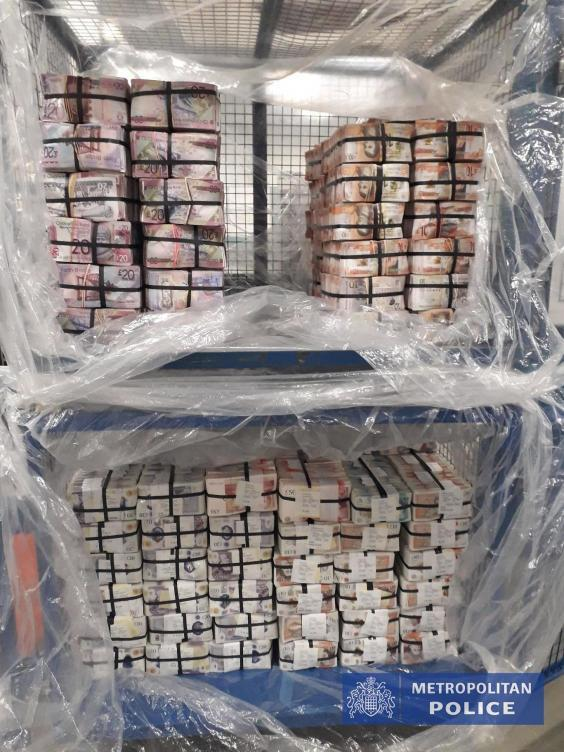 A photograph of £5.1m cash seized under Operation Venetic in London (Metropolitan Police)