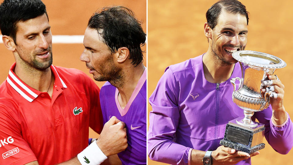 Novak Djokovic and Rafael Nadal, pictured here at the Italian Open in Rome.