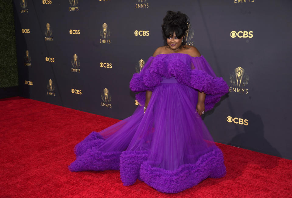 Nicole Byer arrives at the 73rd Primetime Emmy Awards on Sunday, Sept. 19, 2021, at L.A. Live in Los Angeles. (AP Photo/Chris Pizzello)