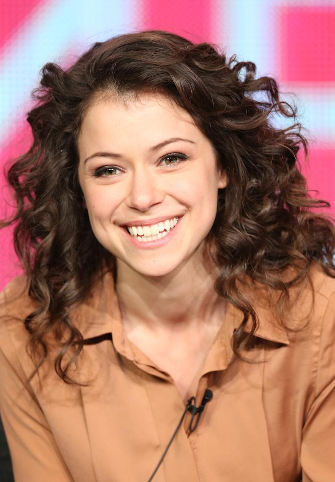 """Canadian actress Tatiana Maslany speaks at an """"Orphan Black"""" panel discussion. (Getty Images)"""