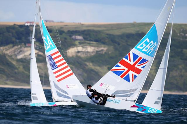 WEYMOUTH, ENGLAND - JULY 30: Iain Percy and Andrew Simpson of Great Britain compete in the Men's Star Sailing on Day 3 of the London 2012 Olympic Games at Weymouth Harbour on July 30, 2012 in Weymouth, England. (Photo by Clive Mason/Getty Images)