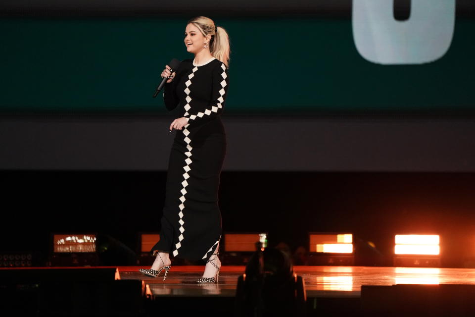 """Host Selena Gomez speaks during """"Vax Live: The Concert to Reunite the World"""" on Sunday, May 2, 2021, at SoFi Stadium in Inglewood, Calif. (Photo by Jordan Strauss/Invision/AP)"""