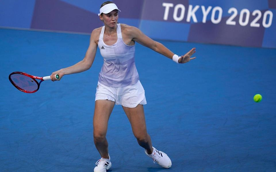 Elena Rybakina, of Kazakhstan, plays against Garbine Muguruza, of Spain, during the quarterfinals of the tennis competition at the 2020 Summer Olympics, Wednesday, July 28, 2021, in Tokyo, Japan - AP/Seth Wenig