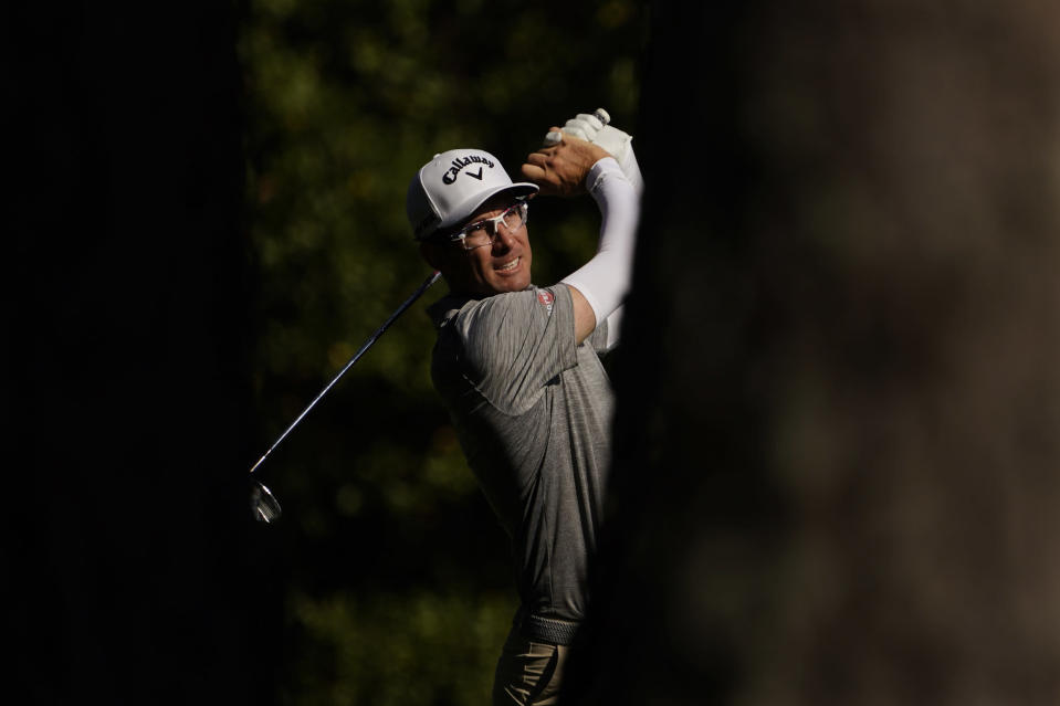 Dylan Frittelli, of South Africa, watches his shot on the 11th hole during the third round of the Masters golf tournament Saturday, Nov. 14, 2020, in Augusta, Ga. (AP Photo/David J. Phillip)
