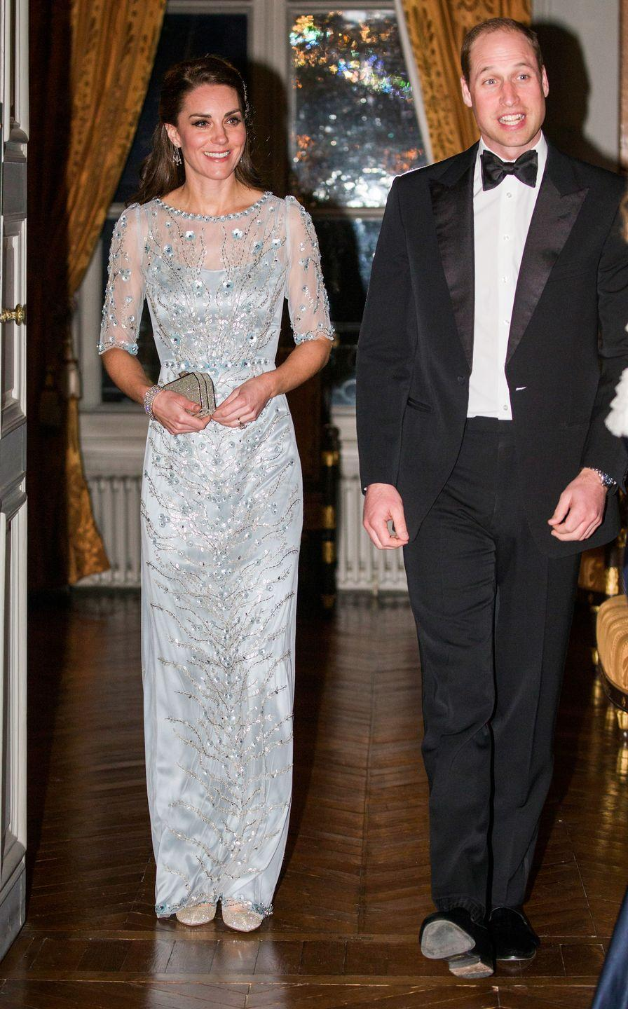 <p>For the dinner, Duchess Kate changes into a stunning Jenny Packham dress while William matches her elegance by wearing a tux.</p>