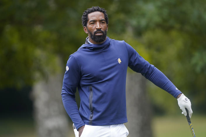 North Carolina A&T's J.R. Smith waits to putt on the 17th green during the first round of the Phoenix Invitational golf tournament in Burlington, N.C., Monday, Oct. 11, 2021. Smith, who spent 16 years in the NBA, made his college golfing debut in the tournament hosted by Elon. (AP Photo/Gerry Broome)